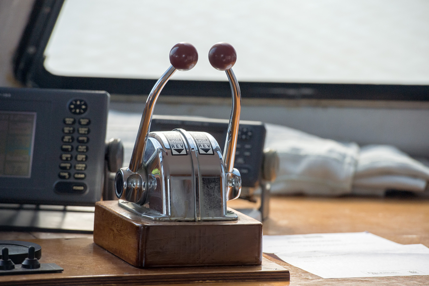Controls At The Helm Of A Yacht