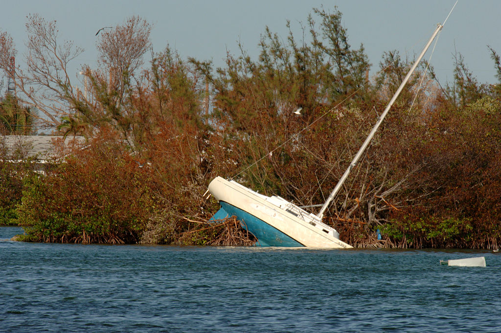Extreme winds left this boat high and not quite dry. Photo by Jocelyn Augustino/courtesy FEMA.