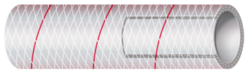 """""""Red tracer"""" PVC potable water hose. Note the wound nylon reinforcement threads throughout."""