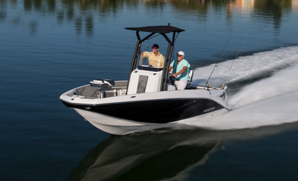 The Scarab 195 Open Fish is a jet-powered center-console set up for fishing and watersports fun. Scarab photo.