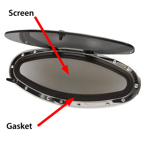 Gasket and screen parts in a Bomar port.