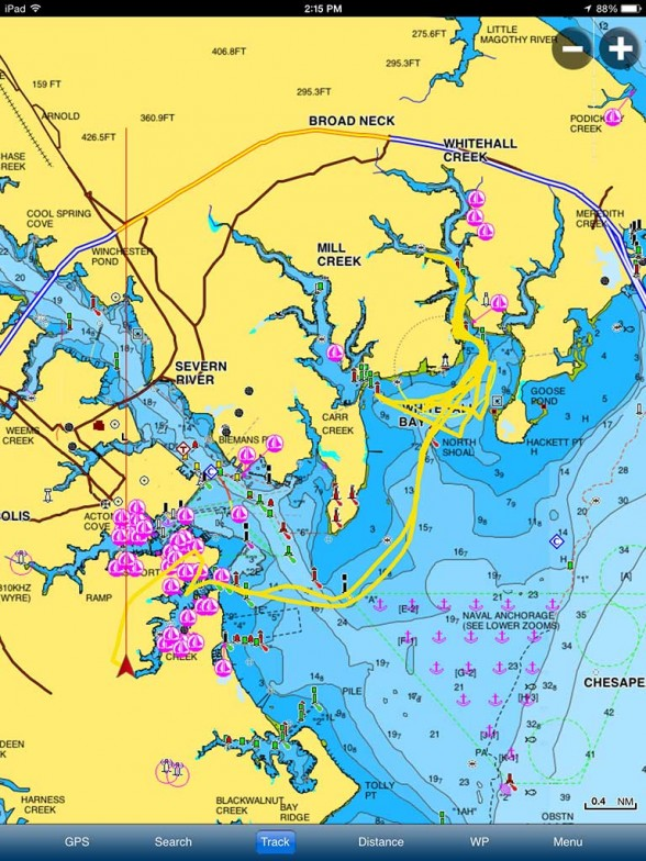 A full-fledged charting app in the palm of your hand--the Navionics Boating app.