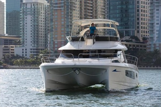 The Aquila 44 power cat is built of premium materials for longevity. Many of the design elements are both modernistic and practical.
