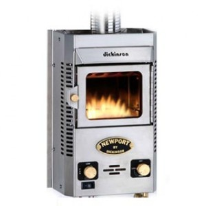 Diminick Marine manufactures a wide range of boat heating stoves, including this propane fired Newport model for bulkhead mounting.