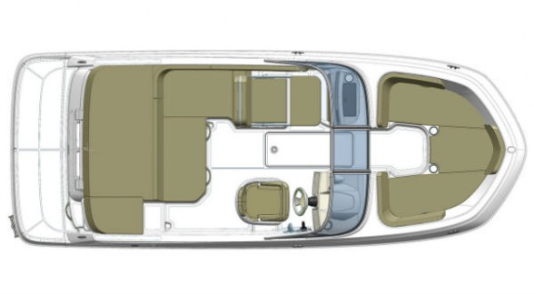 As this overhead view shows, the eight-foot beam of the VR5 is carried all the way to the bow, creating more room in the forward seating area.