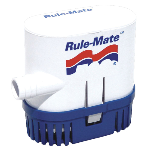A Rule submersible bilge pump. These submersible pumps are designed to be mounted where the action happens: right down in the bilge.