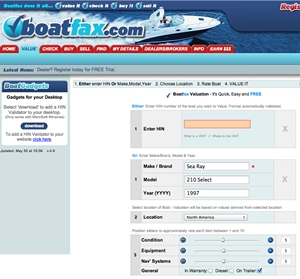 You can enter a boat's Hull Identification Number at Boatfax.com and check its history.