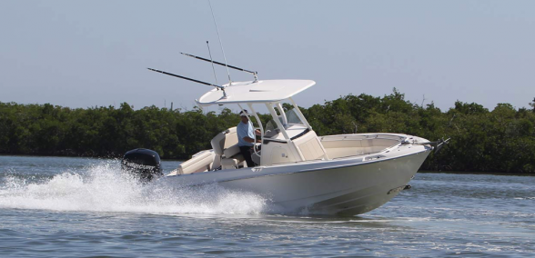 Boston Whaler has done a good job of rounding out the smaller end of its offshore center-console lineup with the introduction of the 230 Outrage. Photo courtesy of Boston Whaler.