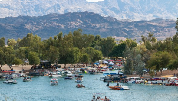 Pack your cooler, Bridgewater Channel on Lake Havasu provides stunning views and an authentic college spring break experience. Photo Courtesy: River Scene Magazine.