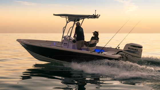 The Sea Chaser 210LX Bay Runner is easily driven and fuel-efficient. It's rated to a maximum 200 horsepower and six people.