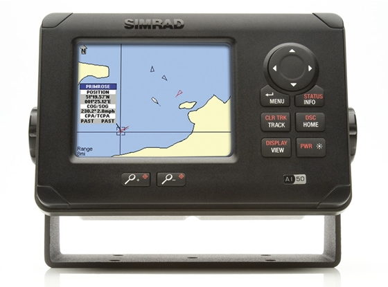 This Class B AIS transceiver has its own display and maps for viewing the location of AIS-equipped vessels. Class B AIS transceivers are primarily intended for recreational boaters. Photo courtesy of Simrad.