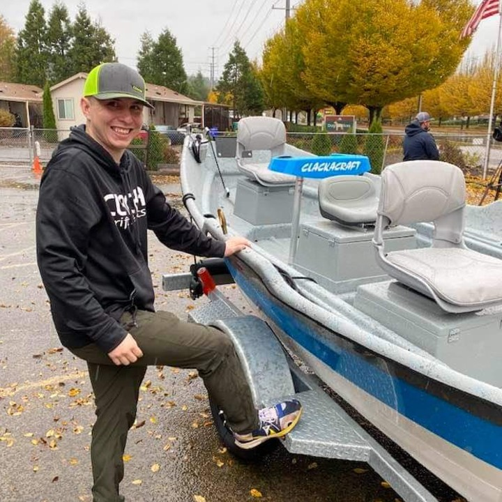 Michael Walker and his brand new Clackacraft boat