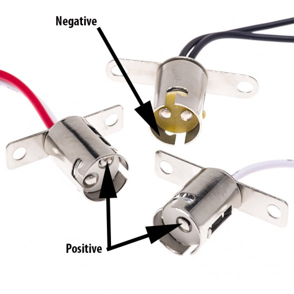 12-volt bayonet-style light bulb sockets and their negative and positive contact points. Photo courtesy of Perko.