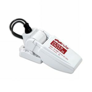 A common bilge pump float switch. These switches can be very reliable, but require frequent monitoring.