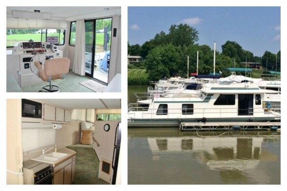 This 2002 Gibson 44 Houseboat includes one master stateroom with head and one lower cabin with two berth.