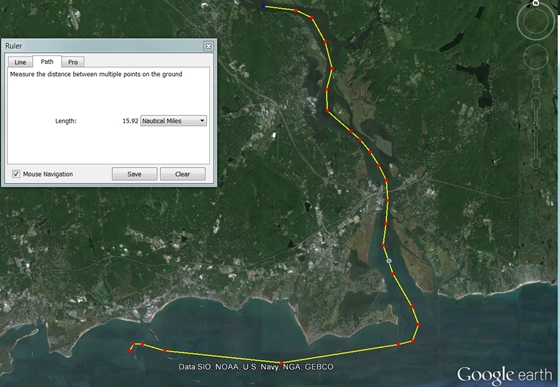 Google Earth lets you plan a simple route in nautical miles.