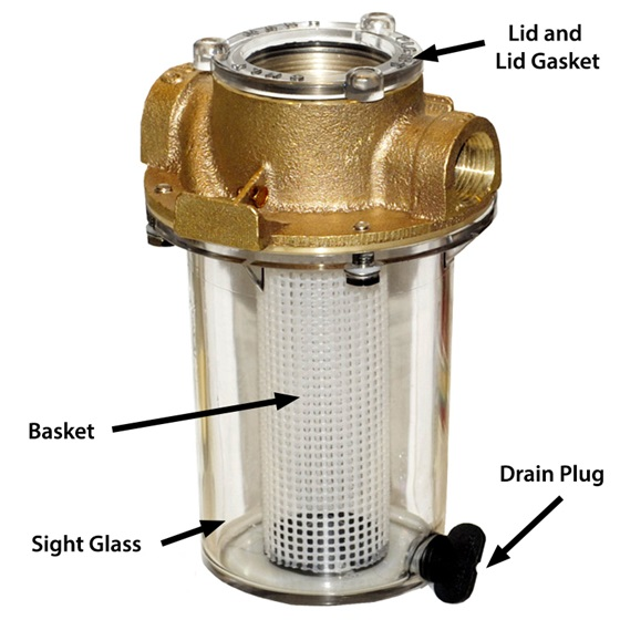 A Groco raw water strainer and its commonly replaced parts. Note the plastic strainer basket and cap; yours may be stainless-steel and bronze, respectively. Photo courtesy of Groco.