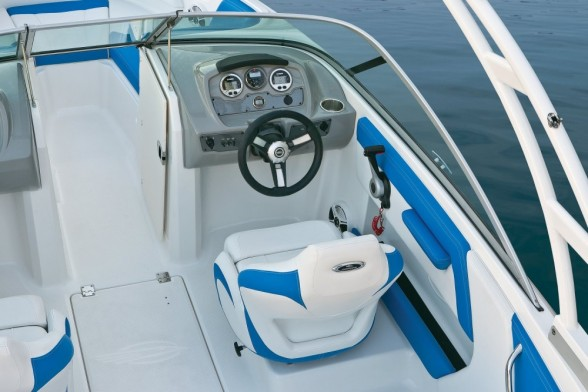 insert caption For just $130, buyers can upgrade to Sea Star hydraulic tilt steering, which makes for a nicer-driving boat.