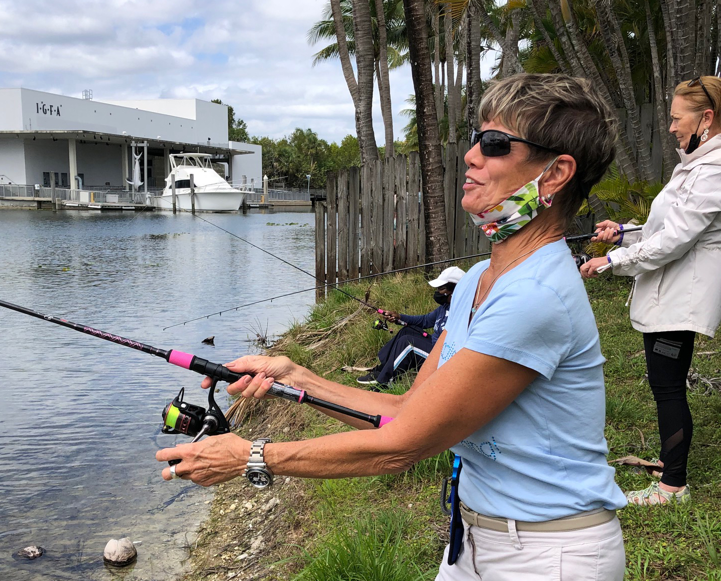 Marilyn DeMartini Fishing At The Ladies Lets Go Fishing Event in 2021
