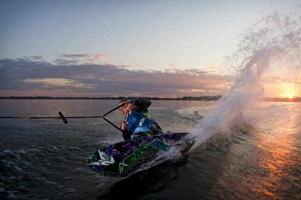 Competitive kneeboards are built to be more compact to allow advanced riders to perform tricks and sharp turns. Photo credit: Centurion Boats.