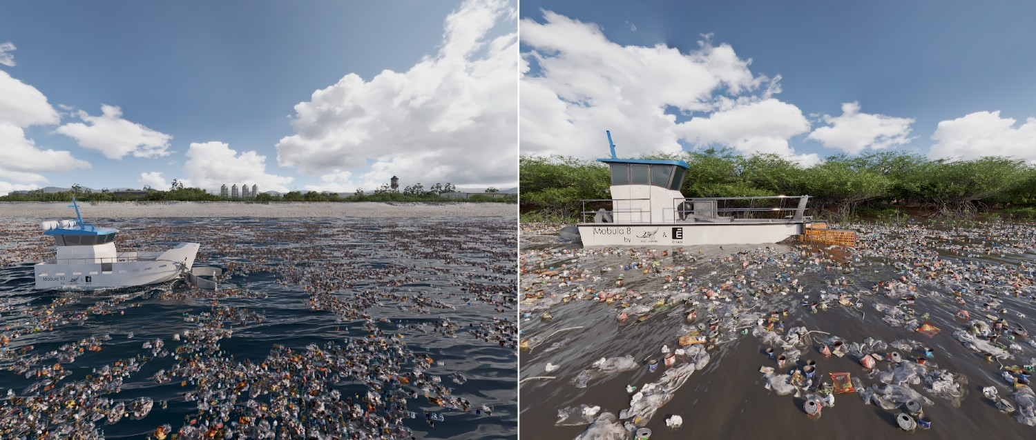 Mobula collecting trash from rivers