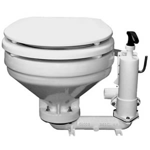 A manual marine head. Note the hand pump on the right side of the bowl.