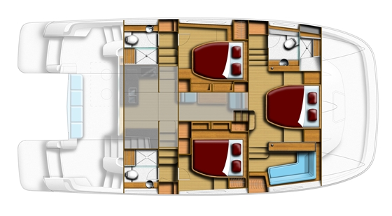 The layout is available in a three-cabin/three-head version, shown here, or with two cabins and two heads -- a geat situation for a liveaboard couple.