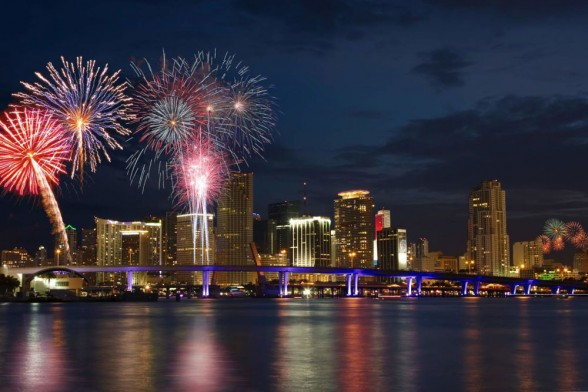 There are a few fireworks displays to enjoy in Miami, FL, on July 4, but we like the one at Bayfront Park the best. Photo courtesy miamibeach.com.