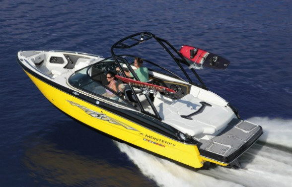 Don't let the fact that the Monterey 218SS Roswell Surf Edition is the smallest boat in our roundup fool you. This is one fast watersports machine. Photo courtesy of Monterey.