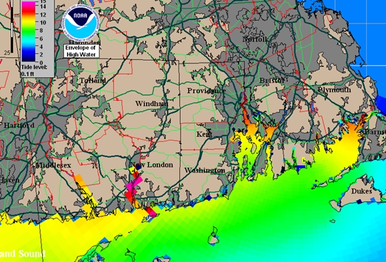 A simulation of the storm surge in New England at the height of the Hurricane of 1938, a brute that caused tremendous devastation then, and would cause far more today. The yellow areas show a surge 10 feet above normal high water. The red areas in New London, Providence, and Buzzard's Bay were even worse. Image courtesy of the National Hurricane Center.