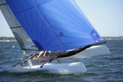 Fun, fast, affordable, and trailerable, the Nacra 18 has a bit of a blind spot when the spinnaker is up, especially if it's your euphoric first ride and you aren't vigilant.
