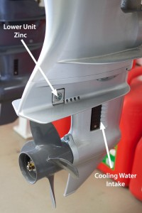A photo of an outboard engine's lower unit.