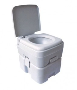 A portable toilet has both water supply and holding tank incorporated into a single, compact design.