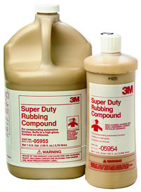 A photo of two bottles of 3M Super Duty Rubbing Compound.
