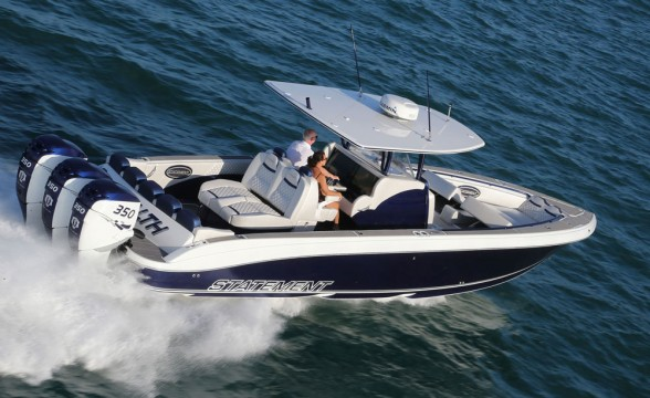According to Statement Marine's Craig Barrie, the company is closing in on center console No. 100. This 38-footer was delivered to Walter and Donna Molosh during the Florida Powerboat Club's Key West Poker Run in November 2016.  According to Statement Marine's Craig Barrie, the company is closing in on center console No. 100. This 38-footer was delivered to Walter and Donna Molosh during the Florida Powerboat Club's Key West Poker Run in November 2016.