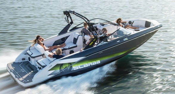Hopped up with twin 250-horsepower Rotax engines and a bevy of watersports features, the Scarab 255 Impulse WAKE is a real performer. Photo courtesy of Scarab.