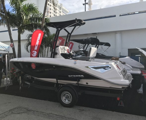 The Scarab 195 Open Fish is not only set up for angling; it's rigged with a tow pylon and clever swim platform to provide easy access for skiers, boarders, and tube-riders. Photo courtesy of Scarab.