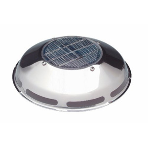 A stainless-steel solar vent. The solar cell on top powers a small electric motor that turns an internal fan that brings in or exhausts air. Photo courtesy of Nicro