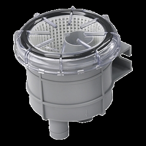 A sea strainer with a see-through lid makes it easy to check for debris clogging.