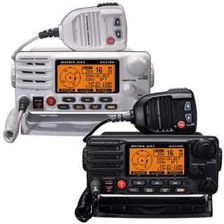These two VHF radios are integrated with AIS capabilities. Once networked with a GPS, the VHF units can be used to send and receive AIS information. Note the ship icons on the display. Photo courtesy of Standard Horizon.