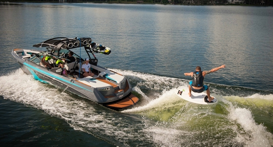 Today's dedicated wake-surfing boats come with water ballast tanks to press the stern down and create monster wakes.
