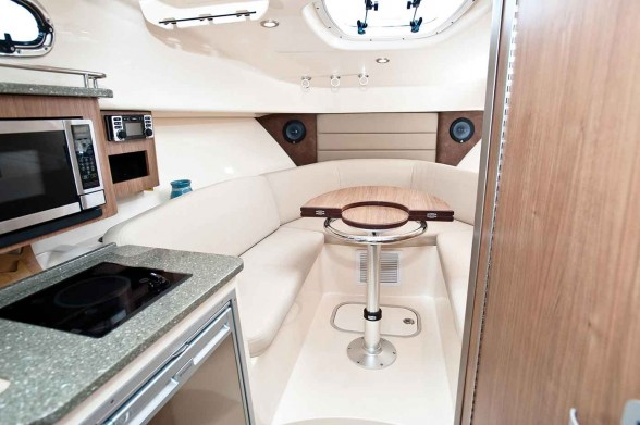The interior of the Boston Whaler 285 Conquest offers major amenities in a compact space.