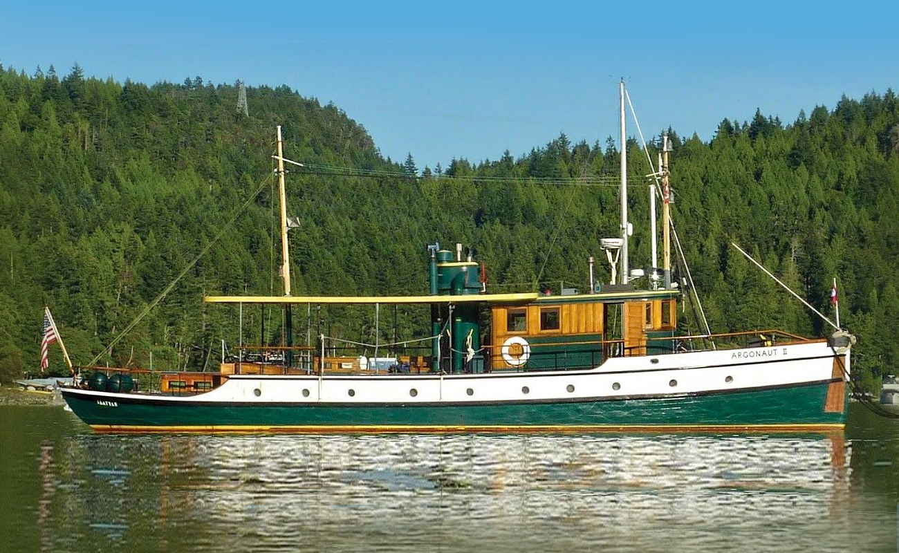 The historic Argonaut II, a 1922 wooden, classic cruising motoryacht built by Menchions Boat Yard in Coal Harbor BC.