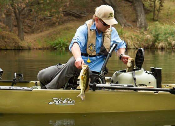 A fishing kayak like the Hobie will get you into the tight areas that hold bass - and not other anglers.