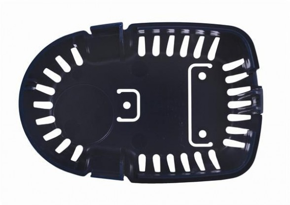 This is the strainer base of a submersible bilge pump. Note the screw holes, which you can use as a drilling template when mounting it to your bilge.
