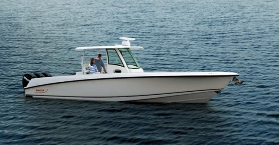 The Boston Whaler 350 Outrage, equipped with triple outboards and rated to 900 hp, is a behemoth center-console. It's set up as an offshore fishing machine, but also has a stand-up shower and sink, and options for air-conditioning, water-heater, an outside grill, and more.