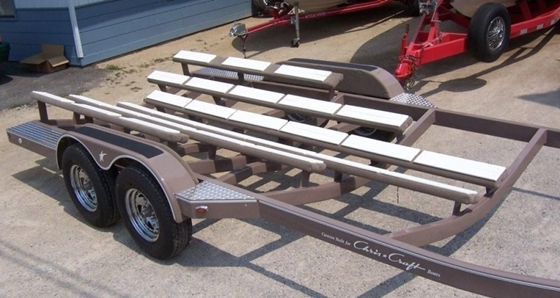 Some trailers have bunks custom-made to fit the hull of a particular model, assuring good, even  support.