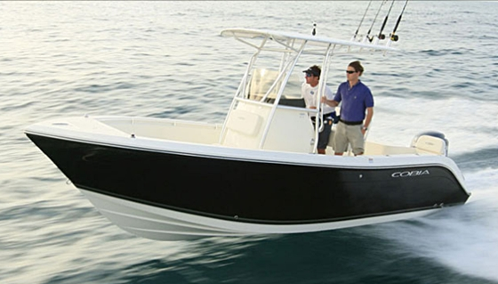 The Cobia 217CC, at 21 feet LOA,  is a good example of a small, versatile center-console. It's powered by a single outboard and rated to 200 hp.