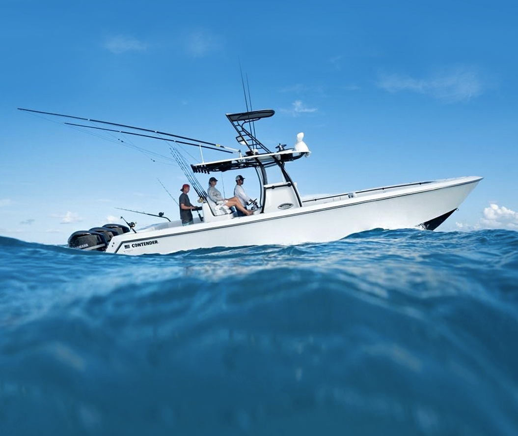 Downriggers on a Contender 35 ST center console boat. Photo: Contender Boats via Intrinsic Yacht & Ship.