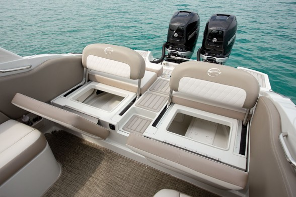 The stern of the boat can be utilized in very different ways, since it doesn't have to house engines.